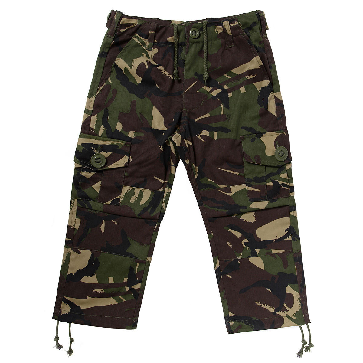 The kids camo pants are bdu pants made to look just like dads or moms! Our kids camo pants are available in a variety of solid and camouflage colors. The kids army fatigues have 6 cargo pockets, adjustable waist and drawstring bottoms.