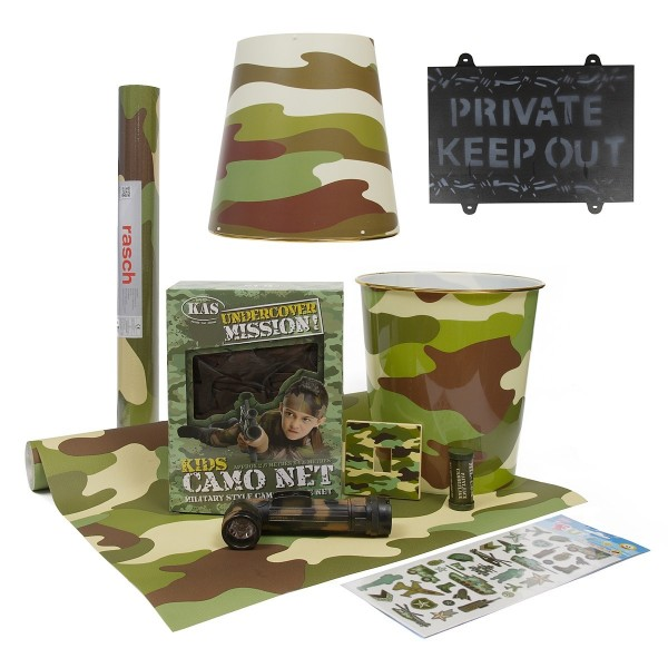 Kids army bedroom 10pcs accessories kit includes camo for Camouflage bedroom ideas for kids